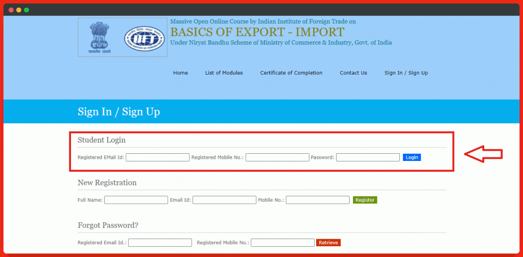 Sign in Page To Free Export-Import  Course